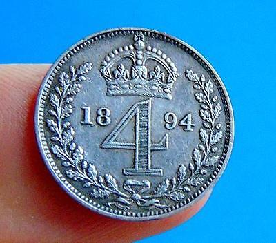 QUALITY  Victorian  1894  SILVER  MAUNDY  FOURPENCE  4d...from  LUCIDO_8  COINS