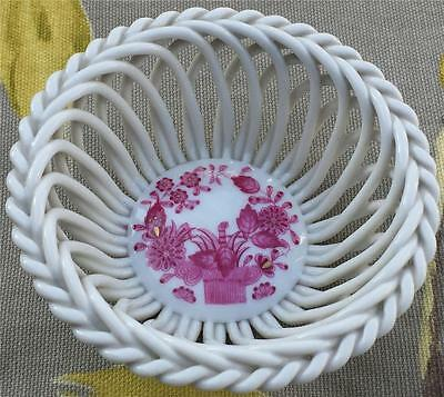 Herend Open Weave Basket Raspberry Chinese Bouquet Design