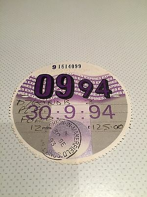 Expired Collectable 1994 Car Tax Disc Ved For Ford