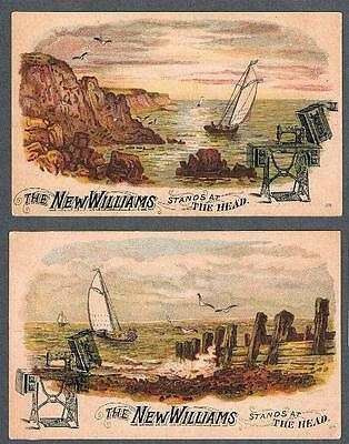 Original 1900's Gervais & Hudon Quebec New Williams Sewing Lot of 2 Trade Cards