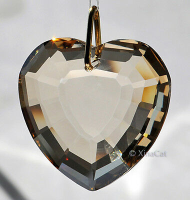 35mm Heart Crystal Golden Shadow Faceted Pendant Prism SunCatcher 1-1/3 inch
