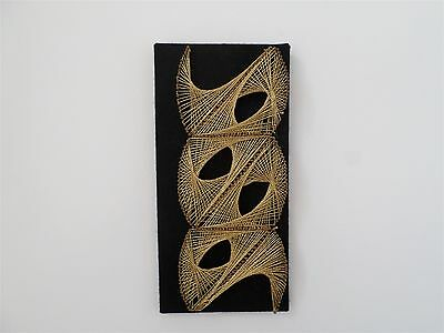 VINTAGE 70'S MID CENTURY MODERNIST STRING ART WALL HANGING,PICTURE black,gold
