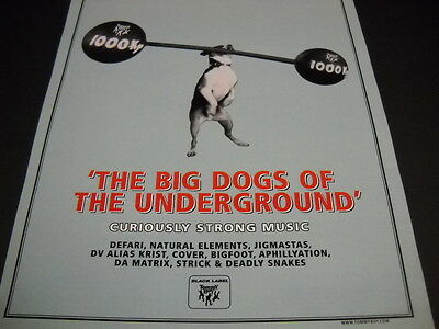 TOMMY BOY Rap and Hip Hop label are BIG DOGS OF THE UNDERGROUND 1998 Promo Ad