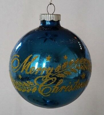 Vintage Shiny Brite Blue Merry Christmas Dorado Beach Souvenir Glass Ornament