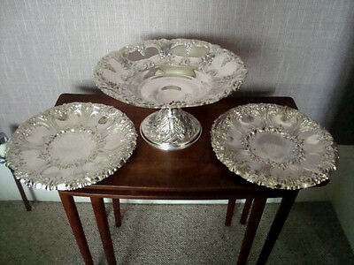 Ornate Quality Serving Plates Dishes Silver Plate Dining Footed Compote Fruit