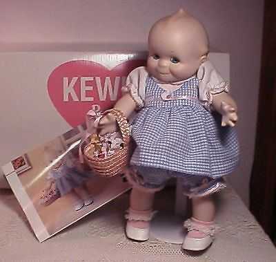 adorable porcelain bisque KEWPIE Basket of Love *D.mint w/box red heart on chest