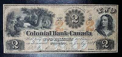 1859 Colonial Bank of Canada Toronto - $2 Two Dollars Note - Extremely Scarce