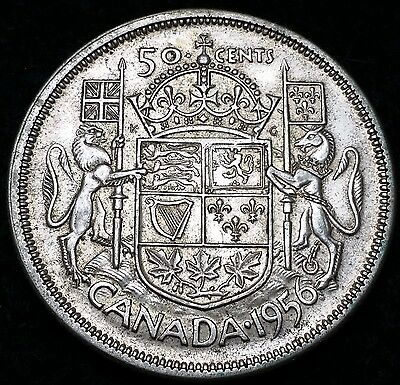 1956 Canada 80% Silver Half Dollar - 50 Cents - Free Combined S/H