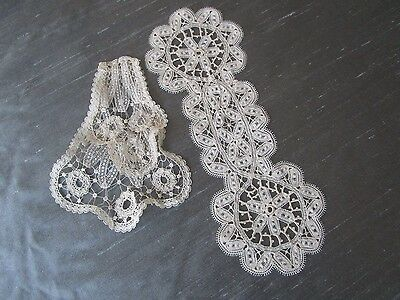 Antique Handmade Bobbin Lace Lappets or 4 Doll teddy millinery costume
