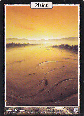 1 x  full art land (plains) from Unhinged (magic the gathering)