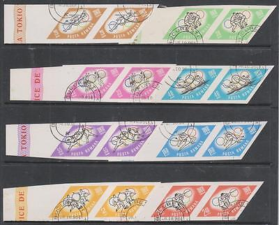 ROMANIA - 1964. Olympic Games, Tokyo - Imperf Set of 8 - Used (CTO) Pairs