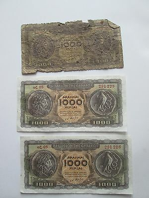 (3) 1950's, GREEK BANKNOTES,  as seen in pictures.