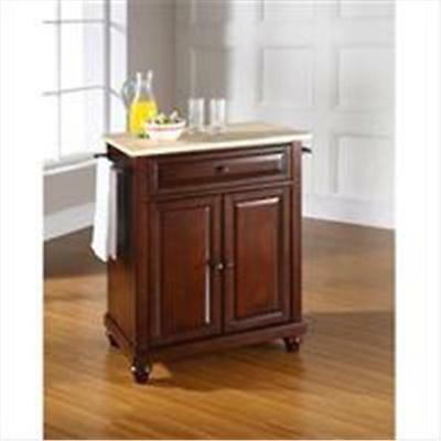 Crosley Furniture Cambridge Natural Wood Top Portable Kitchen Island in Vinta...