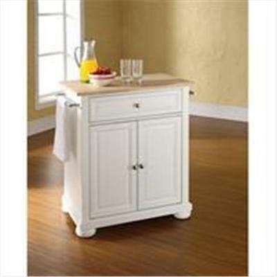Crosley Furniture Alexandria Natural Wood Top Portable Kitchen Island in Whit...