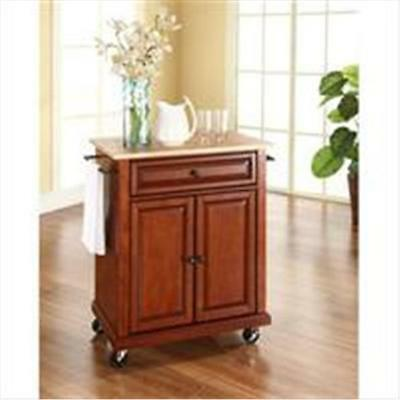Crosley Furniture Natural Wood Top Portable Kitchen Cart-Island in Classic Ch...
