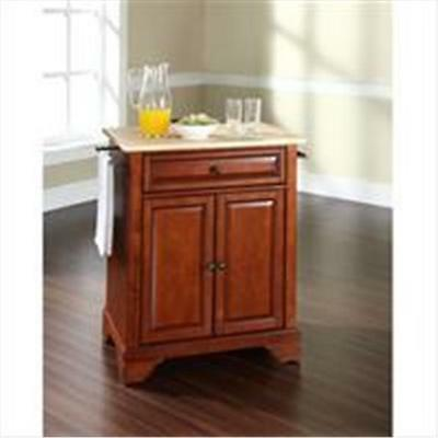 Crosley Furniture LaFayette Natural Wood Top Portable Kitchen Island in Class...