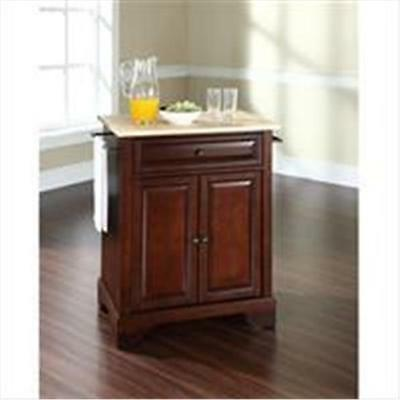 Crosley Furniture LaFayette Natural Wood Top Portable Kitchen Island in Vinta...