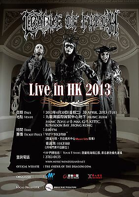 """CRADLE OF FILTH """"LIVE IN HONG KONG 2013"""" CONCERT TOUR POSTER-Extreme Metal Music"""