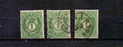 NORWAY 1871 1sk x THREE SHADES USED CAT c£80