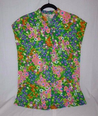 Vtg Miss Hawaii MOD Flower Power Barkcloth Fabric Beach Swimsuit Cover Up Top