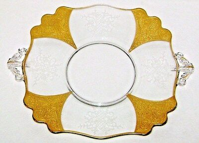 Antique Elegant Glass Handled Plate Gold Panels Floral & Lattice Pattern