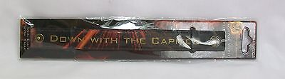"""The Hunger Games Leather """"Down With The Capitol"""" Thin Cuff Bracelet w/ Snap *New"""