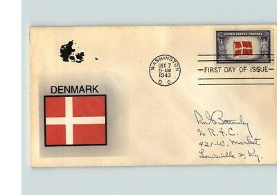 DENMARK, Overrun Country in World War II, Hand Painted, 1943 First Day of Issue
