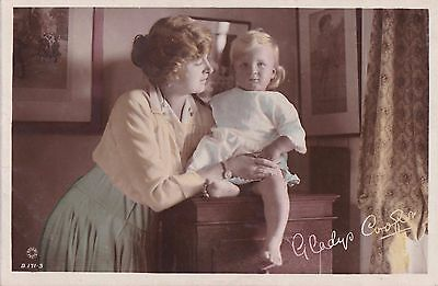 OLD POSTCARD GLAMOUR ACTRESS GLADYS COOPER CHILDREN BABY GIRL 1910s FASHION FB72