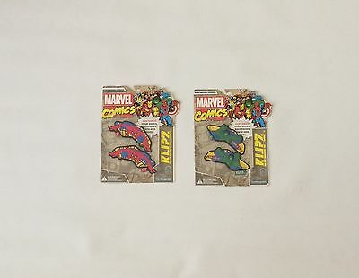 NIB Marvel Klipz Comic Spider-Man and The Hulk 2 Pack Kids Shoe Accessory