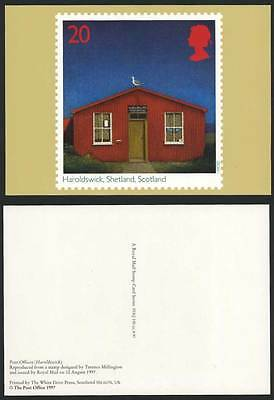 Haroldswick Post Office Shetland Scotland Seagull Bird, Colour PHQ Card Postcard