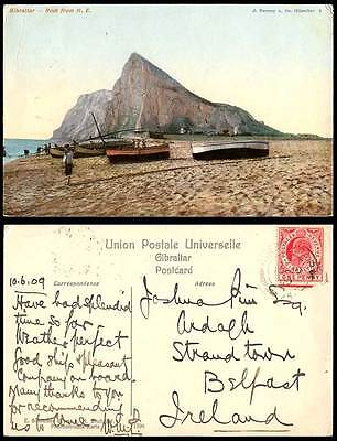 Gibraltar 1d. 1909 Old Colour Postcard THE ROCK from N.E. North East Beach Boats