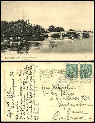Canada 1c. x 2 1907 Old Postcard The Bridge at ISLAND PARK Toronto Boats Boating