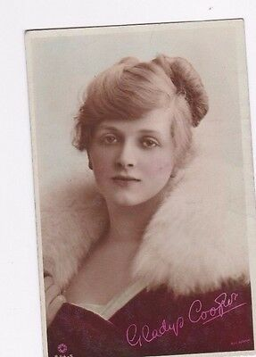 OLD POSTCARD GLAMOUR WOMAN ACTRESS GLADYS COOPER FUR 1910s FASHION FB77