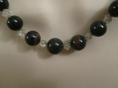 Vintage Bloodstone And Crystal Necklace