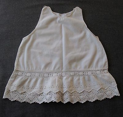 Antique Frilly Eyelet Lace Cotton Dress For Baby Or Doll