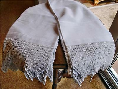 "Two Excellent 72"" X 22"" Antique Bed Valances With Firm Deep Crocheted Edge"