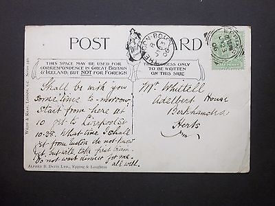 GB Essex 1906 KEVII 1/2d Postcard EPPING Squared Circle & THEYDON BOIS s/c