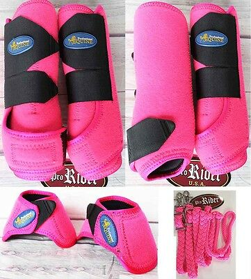 M Professional Equine Sports Medicine Horse Splint Boots Bell PINK 4 Pack 41P03A