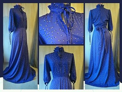 (L7) Beautiful high ruffle neck 1970s vintage blue maxi dress sz 10 12