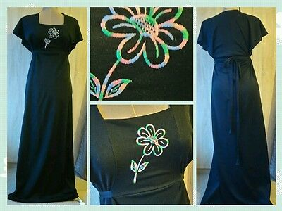 (L7) Lovely 1970s vintage evening dress brightly coloured embroidered flower 10