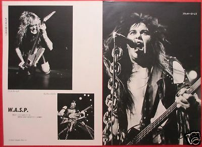 W.A.S.P. BLACKIE LAWLESS Chris Holmes Randy Piper 1986 CLIPPING JAPAN ML 4A 2P