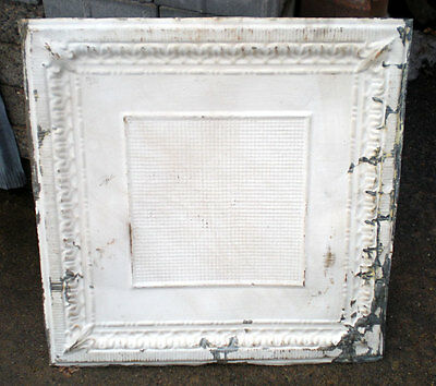 SALE Vintage Ceiling Tin Tile Elegant Fleur De Li Framed Canvas Shabby Chic