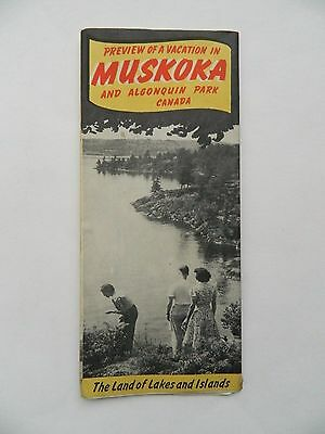 1950's Vintage Muskoka and Algonquin Park Canada Travel Brochure Fold out Map