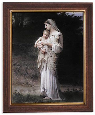 Bouguereau Innocence Print Wooden Frame Catholic Madonna the Virgin Mary