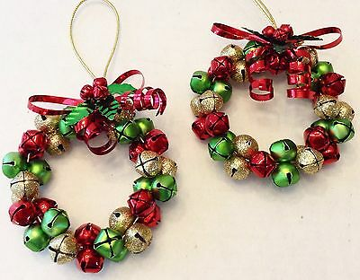 Jingle Bell Christmas Wreath Ornament Lot Of 2