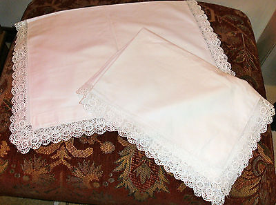 Very Beautiful Large Vintage Cotton Pillowcases With Schiffli Lace Surround