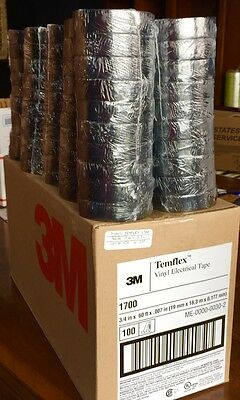 "3/4"" X 60' Black Vinyl Electrical Tape 100 Rolls Free Shipping Save $$"