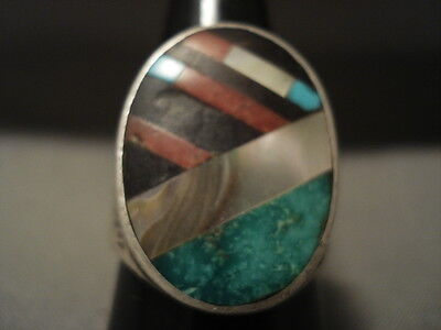 Colossal Vintage Navajo Carico Lake Turquoise Coral Silver Ring