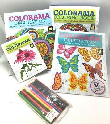 4 Set Colorama and Magic Path Coloring Books Collection With 6 Coloring Pencils