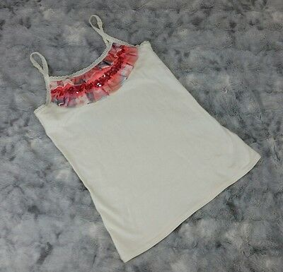 Justice Girls Size 12 Ivory Tank Top with Sequin & Pink Ruffle